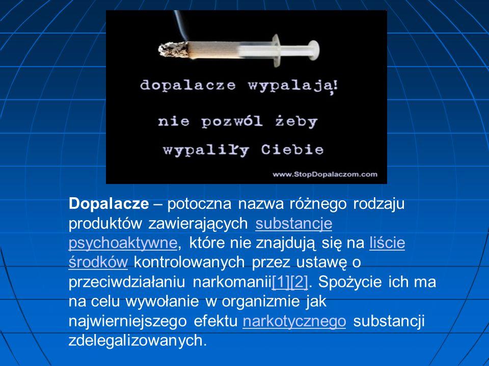 Dopalacze – potoczna nazwa różnego rodzaju produktów zawierających substancje psychoaktywne, które nie znajdują się na liście środków kontrolowanych przez ustawę o przeciwdziałaniu narkomanii[1][2].